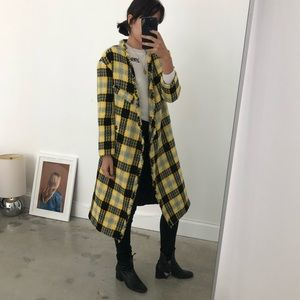 Yellow and Black Plaid Asymmetrical Coat w Fraying